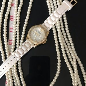 Fossil watch + faux pearl necklace